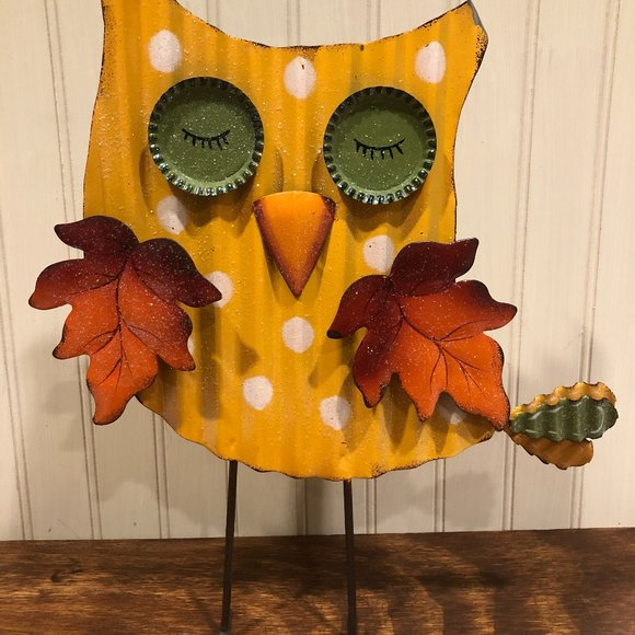 Corrugated Barn Tin Owl Free Standing Home Decor